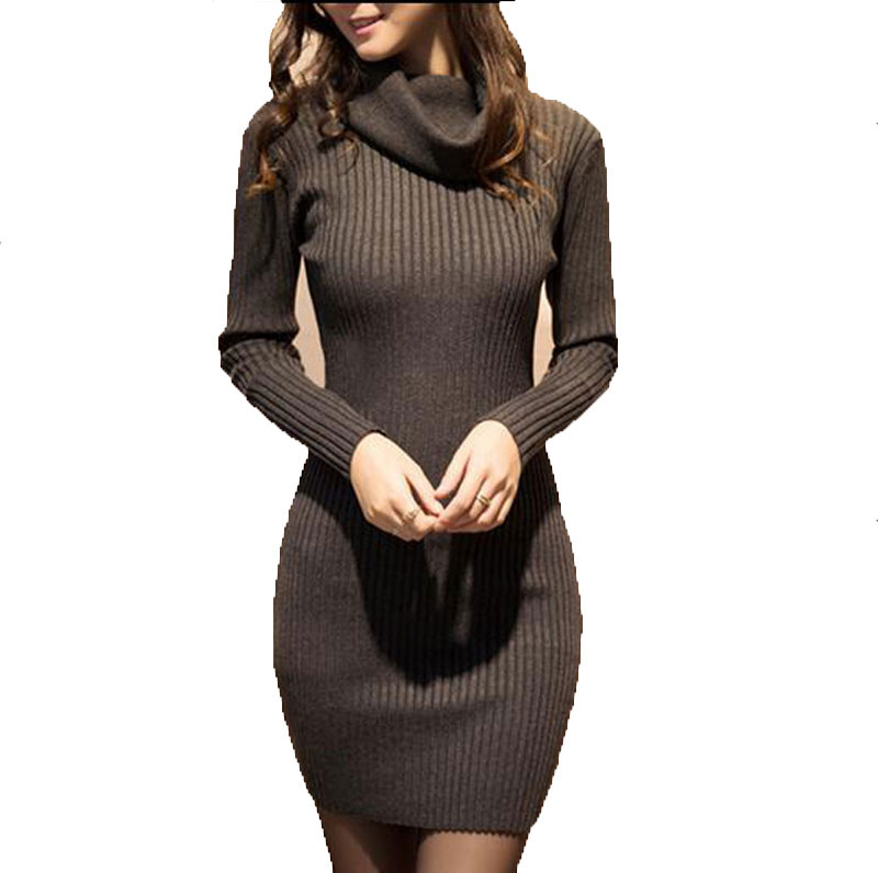 2017 New Fashion Autumn Winter Long Sleeve Sexy Club Dresses Sheath Turtleneck Sweater Dresses For Women AE2071