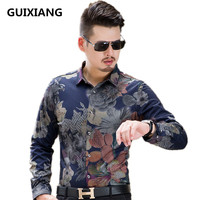 2017 summer Men's fashion printing flowers long sleeve shirts, men's high quality cotton and silk long sleeve shirts men
