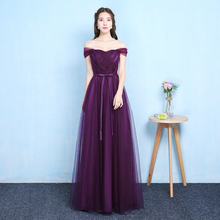 Sexy Purple Floor Length Party Criss cross Tulle Ribbon Women Wedding Elegant Ladies Bridesmaid Dresses Party Dance Dress 9069