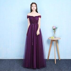 Image 1 - Sexy Purple Floor Length Party Criss cross Tulle Ribbon Women Wedding Elegant Ladies Bridesmaid Dresses Party Dance Dress 9069