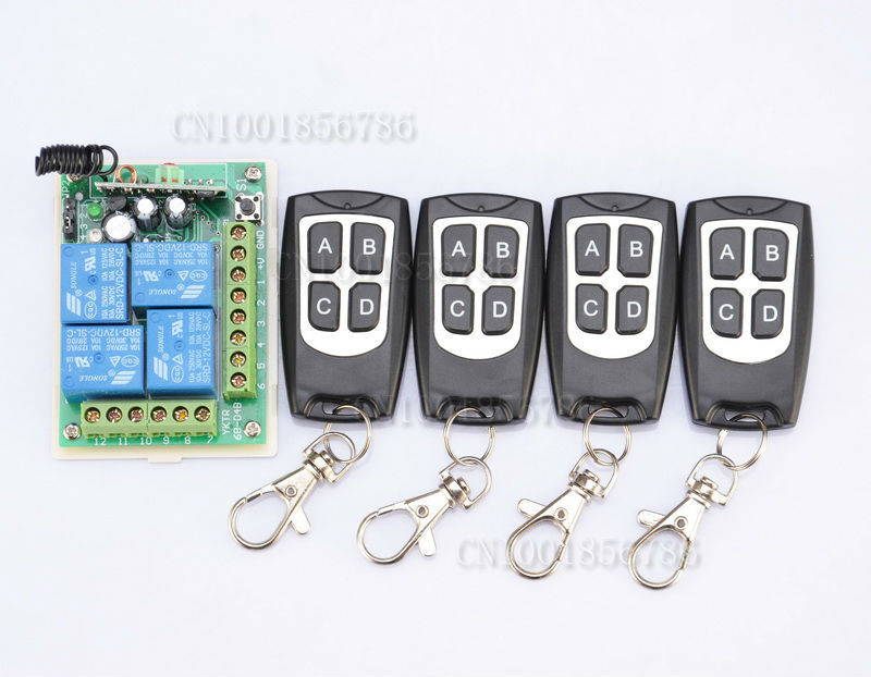 12V 4CH Receiver &4 Transmitter Momentary Toggle Latched RF Wireless Remote Control Switch System LED SMD ON OFF new rf wireless switch wireless remote control system 2transmitter 12receiver 1ch toggle momentary latched learning code 315 433