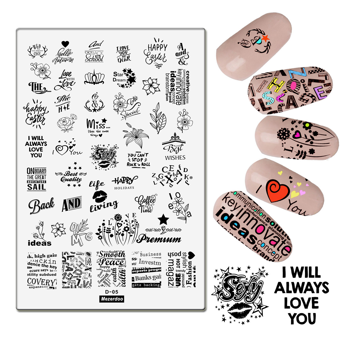 Floral Newspaper Nail Art Stamping Plates Tools Templates Stamp Plate Love Flower Letters Image Large Manicure DIY Supplies