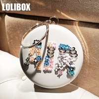 LOLIBOX Women Day Clutches Round Flower Rhinestone Letter Circle Purses And Handbags Women Clutch Bag Small Clutch Evening Bags
