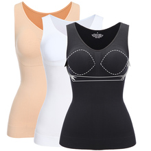 Women Body Shaper Tank Top Cami with Built in Removable Bra Pads Camisole Shapewear Tops Shelf
