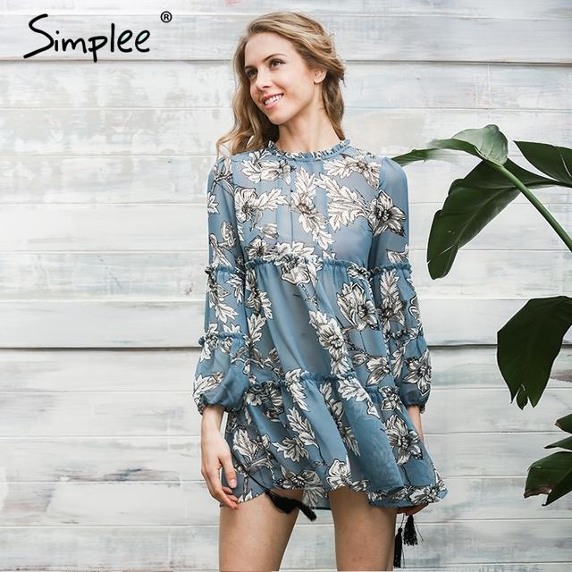 Simplee boho çiçek baskı püskül kadınlar dress sonbahar kış uzun kollu fırfır şifon dress vintage gevşek kısa dress vestidos