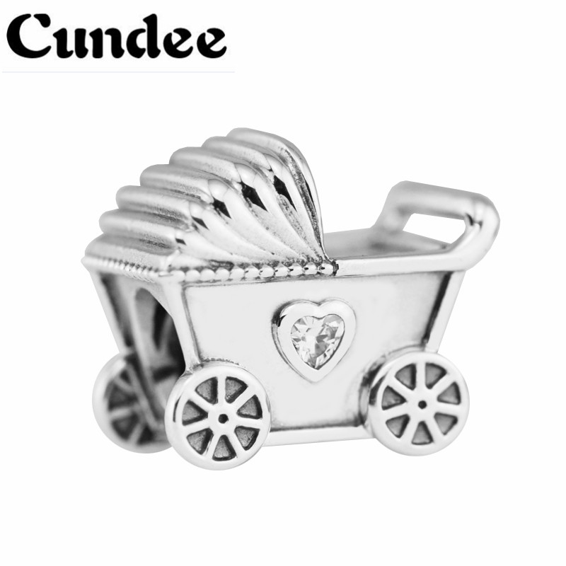 Fashion Baby Car Mother Gift Baby S Pram Clear CZ Charms Fits Pandora Bracelets Necklaces Charms