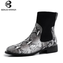 BONJOMARISA Brand New Big Size 33-40 Genuine Leather Snake Veins Shoes Woman Casual Party Autumn Winter Chunky Heels Ankle Boots(China)