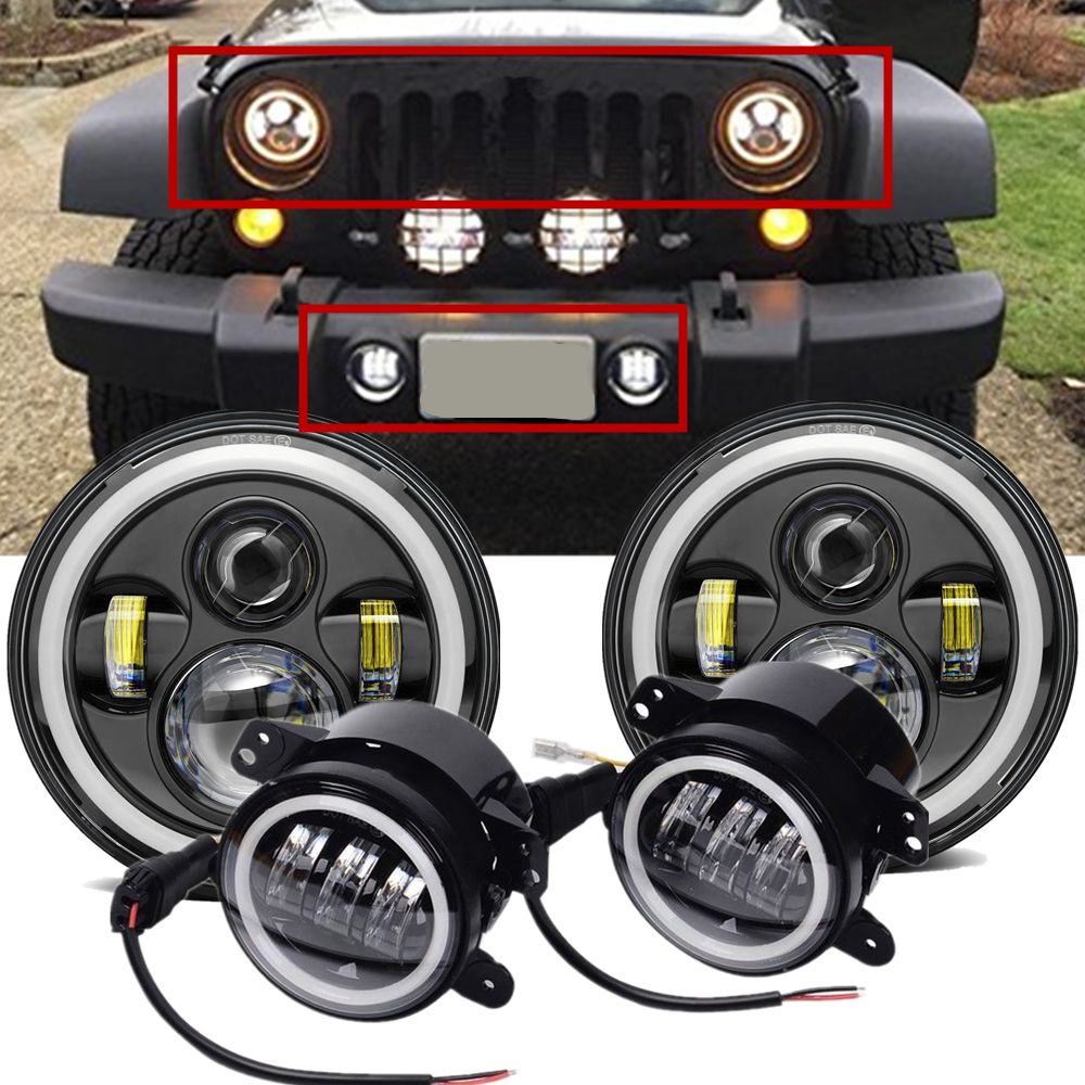 For Jeep JK Accessories 7 Inch LED Halo Headlights + 4 Inch LED Fog Light DRL Combo Kit For Jeep Wrangler JK 2007-2017For Jeep JK Accessories 7 Inch LED Halo Headlights + 4 Inch LED Fog Light DRL Combo Kit For Jeep Wrangler JK 2007-2017