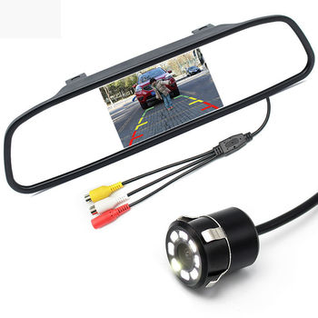 Free Shipping 2 In 1 Parking Assistance Car TFT LCD Color 4.3 Inch Mirror Monitor + Waterproof Rearview Night Vision Camera