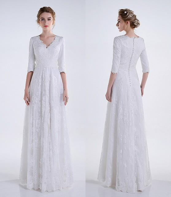 Real 2016 White Long A Line Lace Modest Wedding Dresses With 3 4 Sleeves Appliques V Neck Floor Length Reception Bridal Gowns