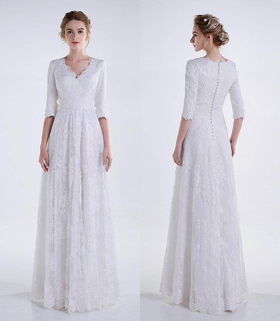 Real 2019 White Long A line Lace Modest Wedding Dresses With 3/4 Sleeves Appliques V Neck Floor Length Reception Bridal Gowns