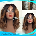 Cheap short Synthetic Lace Front Wig African American Wavy Synthetic Wigs For Black Women Ombre Black BlondeFront Lace Wigs