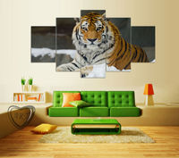 5 Panel Modern Printed Tiger Canvas Painting Cuadros Picture Animal Landscape Oil Paintings For Living Room Framed F/1141