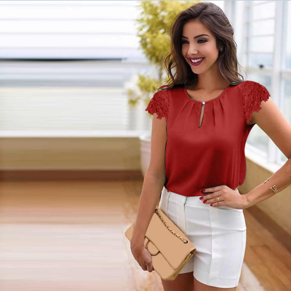 Panie dziewczyna kobiety z krótkim rękawem szyfonowa Hollow bluzka lato na co dzień przejrzyste elegancki O szyi koszula plisowana koronki rękawy topy