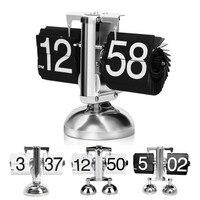 Creative Retro Metal Desk Clock Scale Digital Auto Flip Dual Stand Desk Table Balance Clock Creative Flip Clock