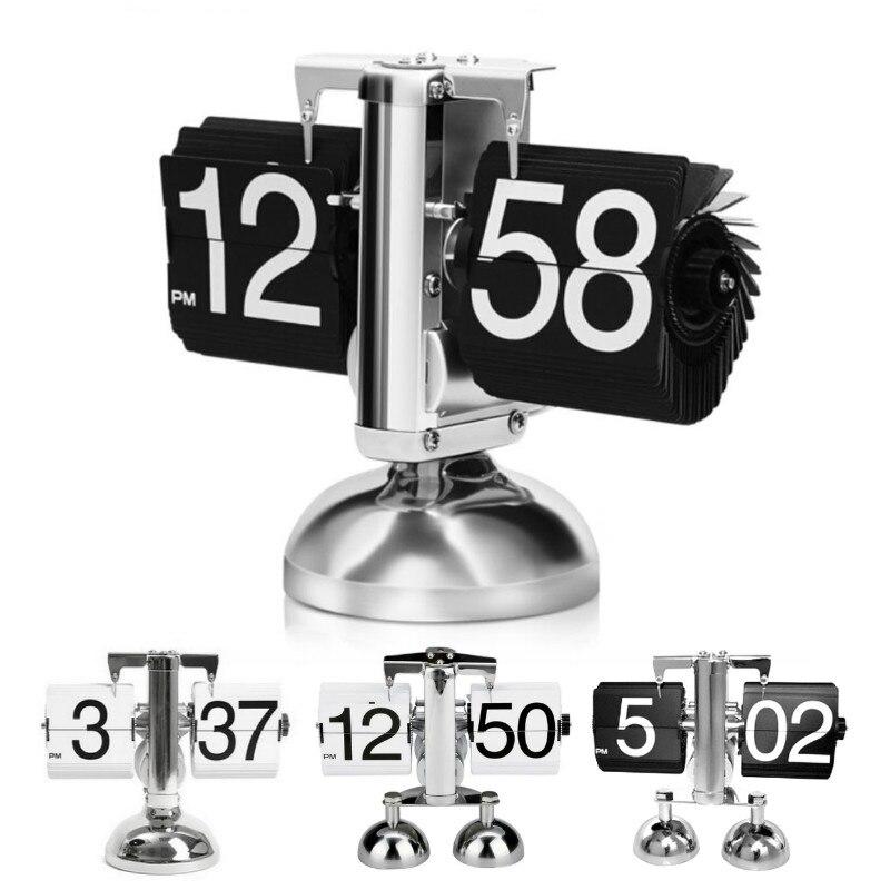 Creative rétro métal bureau horloge échelle numérique Auto Flip double support bureau Table Balance horloge créative Flip horloge