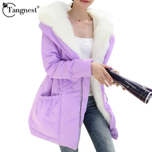 TANGNEST 2017 Thick Warm Winter Jacket Women Cute Solid Color Hooded Fur Collar Duck Down Jackets Long Coat Parkas WWM813