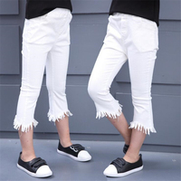 Fashion Spring Autumn Children Girls Casual Flare Pants Girls Ankle Length Pants Cotton Elastic Pants Tassel