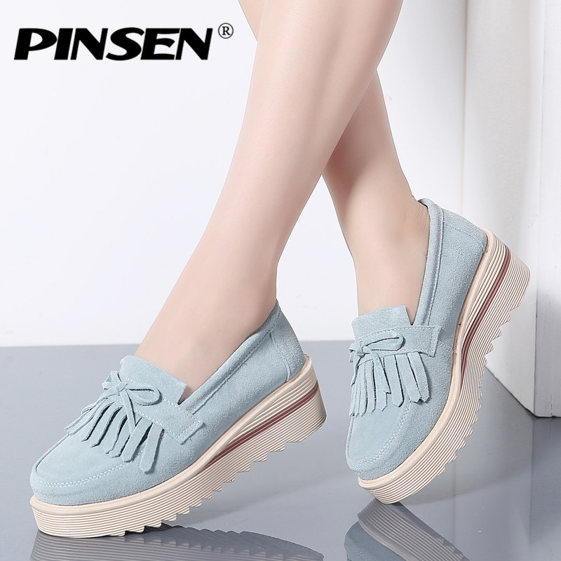 PINSEN Autumn Women Flat Platform Shoes   Suede     Leather   Tassel Slip on Loafers Flat Shoes Woman Moccains Casual Creepers Shoes
