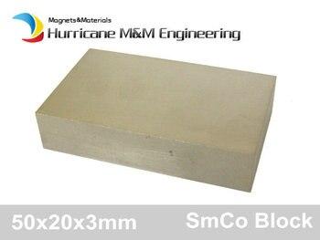 SmCo Magnet Block 50x20x3 mm grade YXG18 300 degree C operating temperature Permanent Magnets Rare Earth Magnets 4-60pcs
