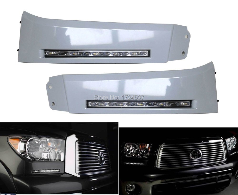 free shipping ,LED Daytime Running Lights DRL LED Front Bumper Fog Lamp case for Toyota Tundra 2007~2013 and Sequoia 2008~ON free shipping 2pc lot led lights hi q front direction indicator lamp for porsche boxster 987 up to 2008