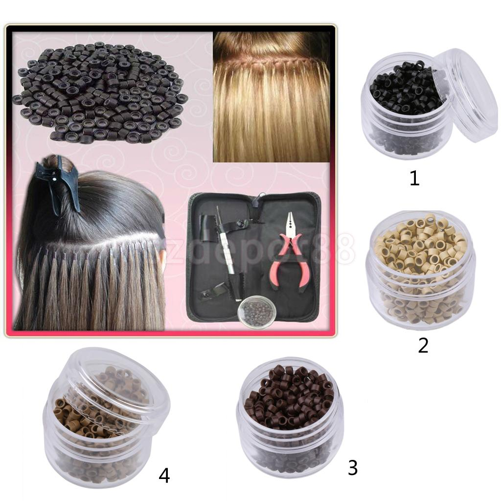 2x500Pcs 5mm Aluminum Nano Rings Beads for Hair Extensions Brown + Beige