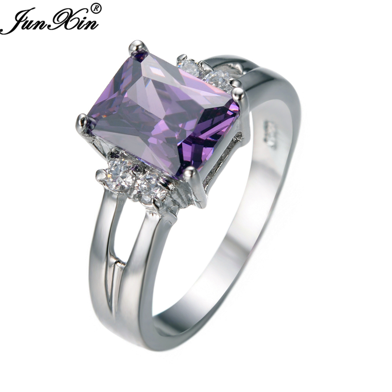 New Square Design Fashion Purple Female Ring White Gold ...
