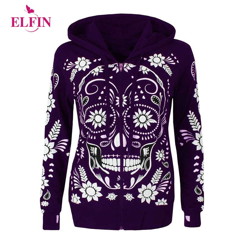 NEW Punk  Skull Hoodies Women Plus Size Long Sleeves Hooded Sweatshirts Woman Zipper Feminino Outerwear 5XL Clothes SJ729R