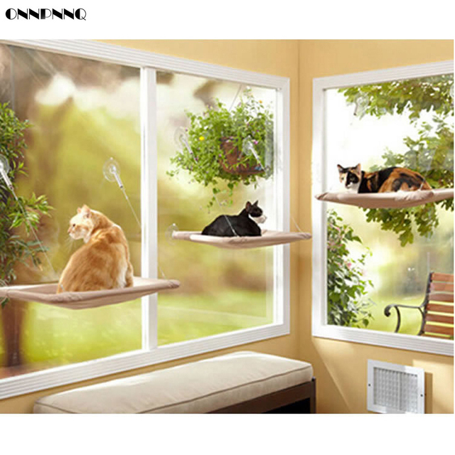 Beautiful ONNPNNQ Sucker Style Cat Windowsill Balcony Hammock Pet Dog Bed Hanging  Shelf Seat