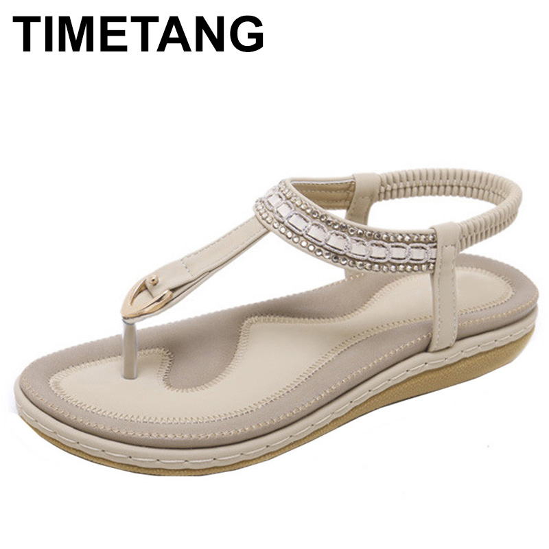 TIMETANG  NEW Bohemia Flat sandals shoes woman Rhinestone flip flop Metal Decoration beach sandals casual shoes size 35-42