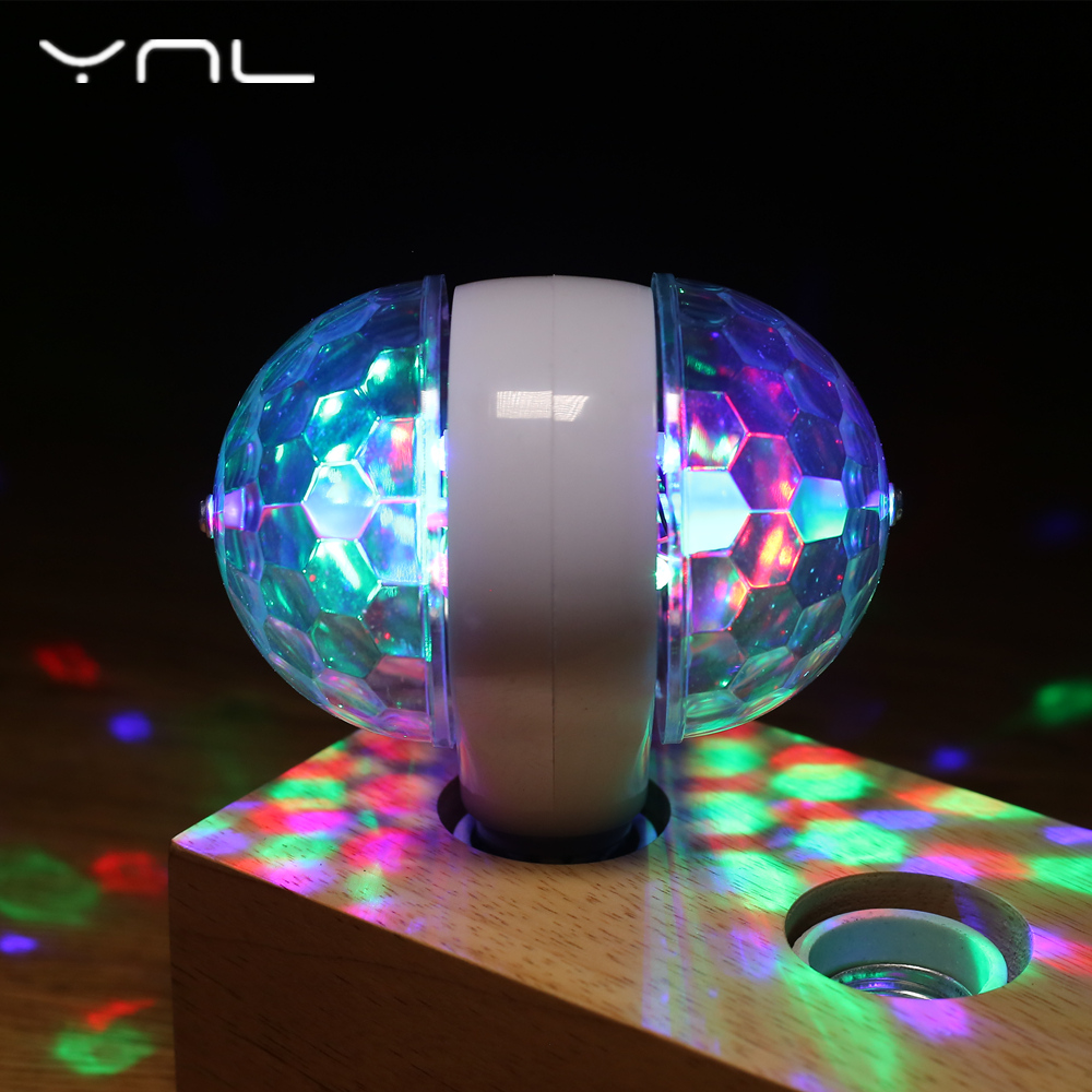 LED Lamp Double Balls Crystal Stage Light RGB 6W E27 Colorful Magic Ball Club DJ Disco Party KTV Home effect Bulb Auto Rotating 6w e27 led stage light rgb lamp with voice activated mp3 projector crystal magic ball rotating disco dj party stage lighting