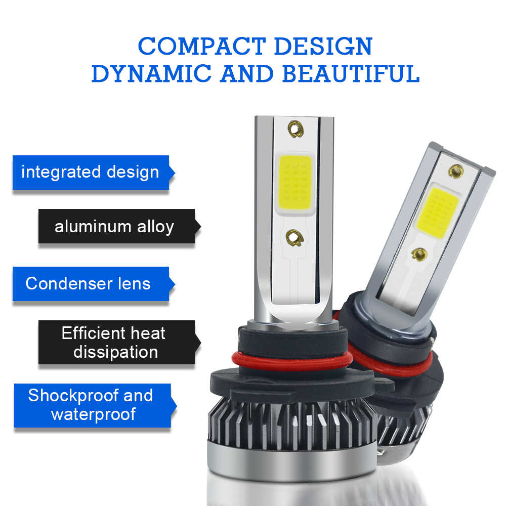 RXZ 2pcs LED Car Lights H1 LED H7 LED H11 H8 9005 HB3 9006 HB4 LED Bulbs Auto DRL Fog Lamp White 12V Waterproof Car Headlight