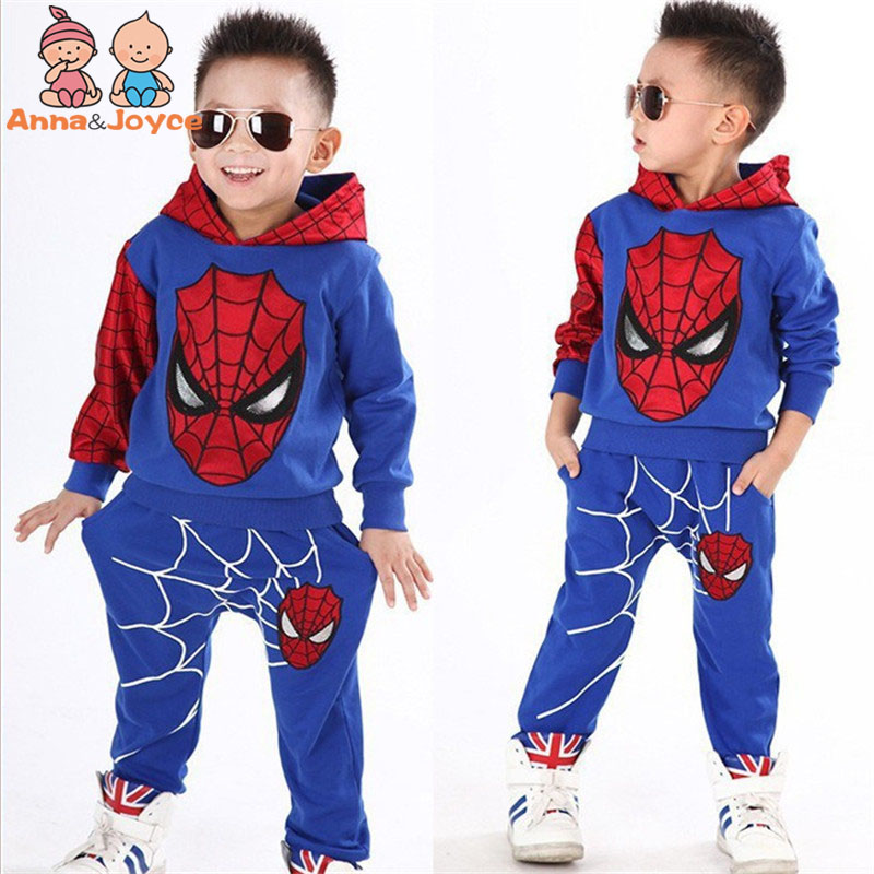 1 Suit Children 's Clothing Spring and Autumn Version of The Male and Female Children' Spiderman Set Fashion Suit ATST0279 a new set of head cap cotton scarf dual purpose male and female geometric pattern of baotou hat