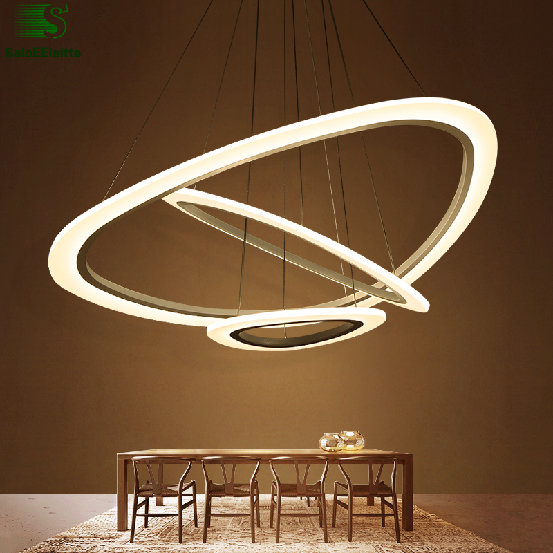 Modern Irregular Ring Led Acrylic Pendant Lights Chrome Aluminium Dimmable Led Pendant Lamp Minimalism luminaria Led Lights