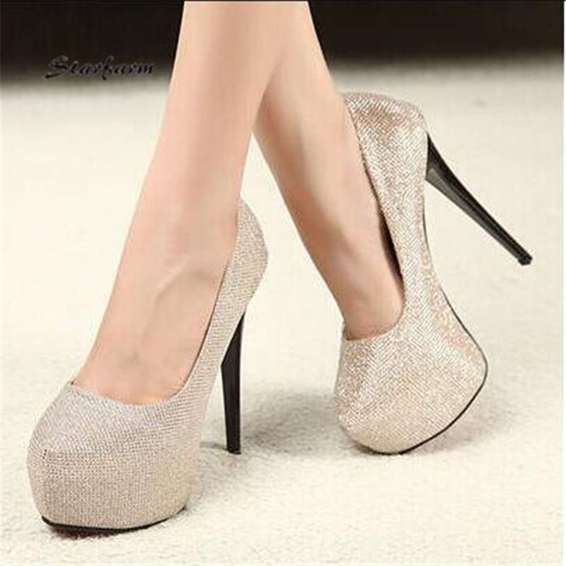 ФОТО 2017 New Red Bottoms Platform Extreme High Heels Gold Shoes Woman Wedding Pumps Sexy Valentine STARFARM-SFDX-011
