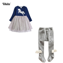 VIKITA Girls Clothing Sets Long Sleeve Unicorn Princess Tutu Dress and Tights Angel Wing Pantyhose Knitted Stockings