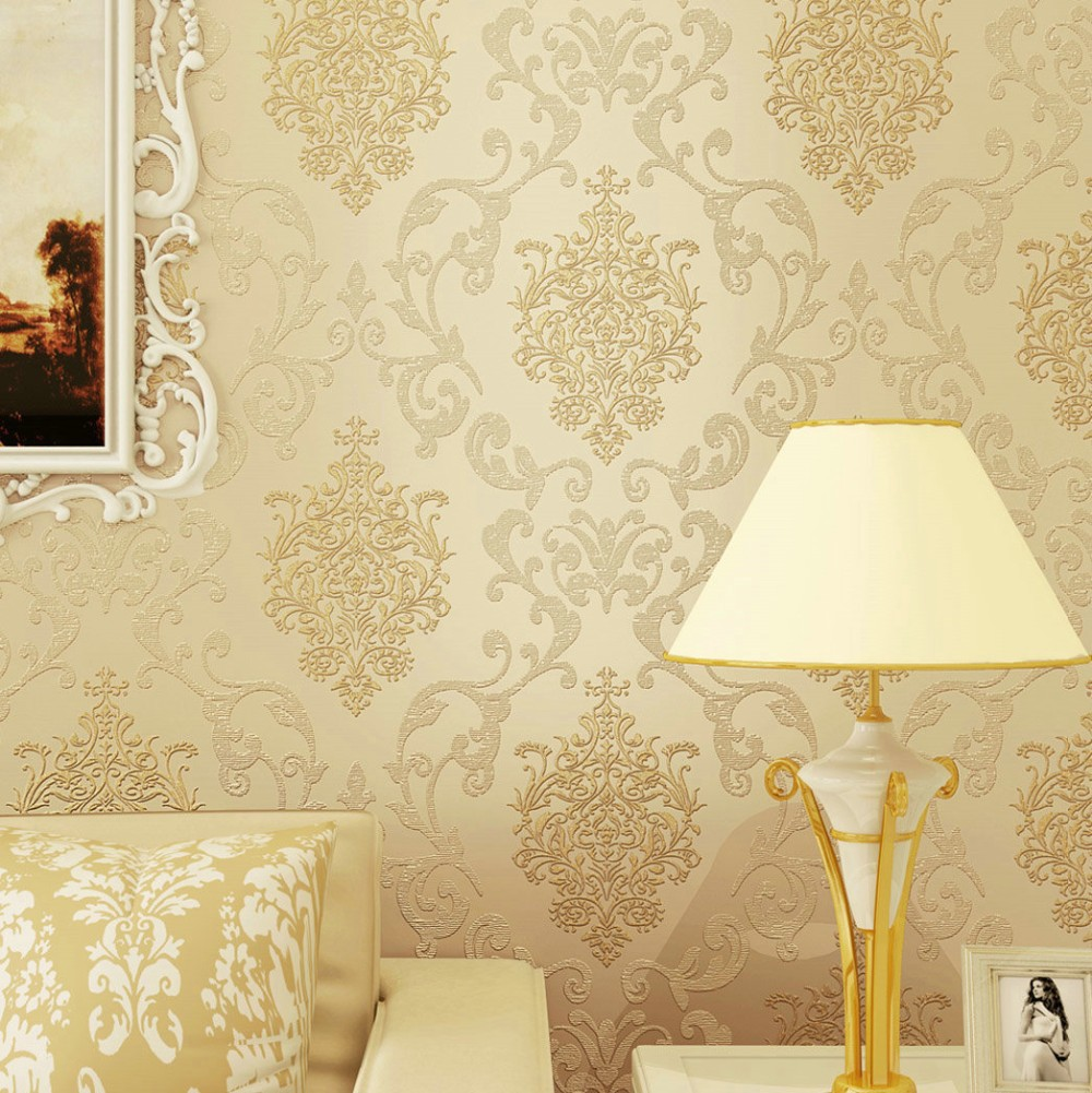 Vintage Classic Beige French Modern Damask Feature Wall paper Roll ...