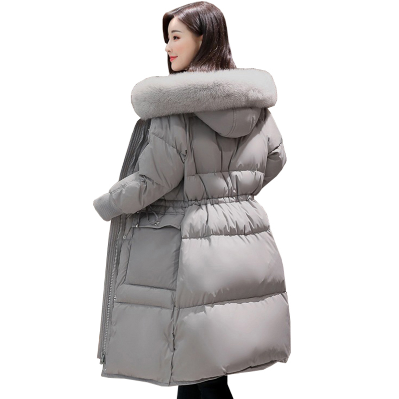 Fur collar hooded Parka Women's Winter Jacket 2017 Black Long Overcoat white Duck down Coat Adjustable waist size coats QH0919