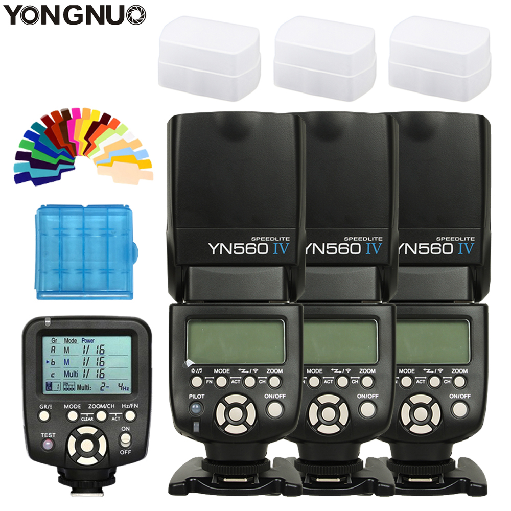 3 PCS YN560 IV YN560IV YONGNUO Speedlite Para Canon Nikon + YN560TX-II Controlador Sem Fio Disparador de Flash de sapata de flash Universal