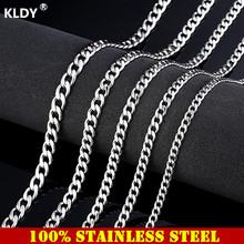 KLDY Stainless steel mens chain necklace men silver cuban link hip hop jewelry punk rock male necklaces chaine homme