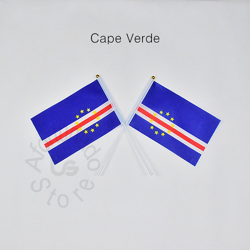 Cabo verde 14*21cm 10 peças bandeira mão acenando bandeira nacional para atender, desfile, festa. pendurado, decoração