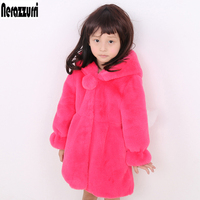 Nerazzurri Kids Faux Fur Coats With Hood Long Sleeve Baby Kawaii Fake Rabbit Jacket Cute Thick