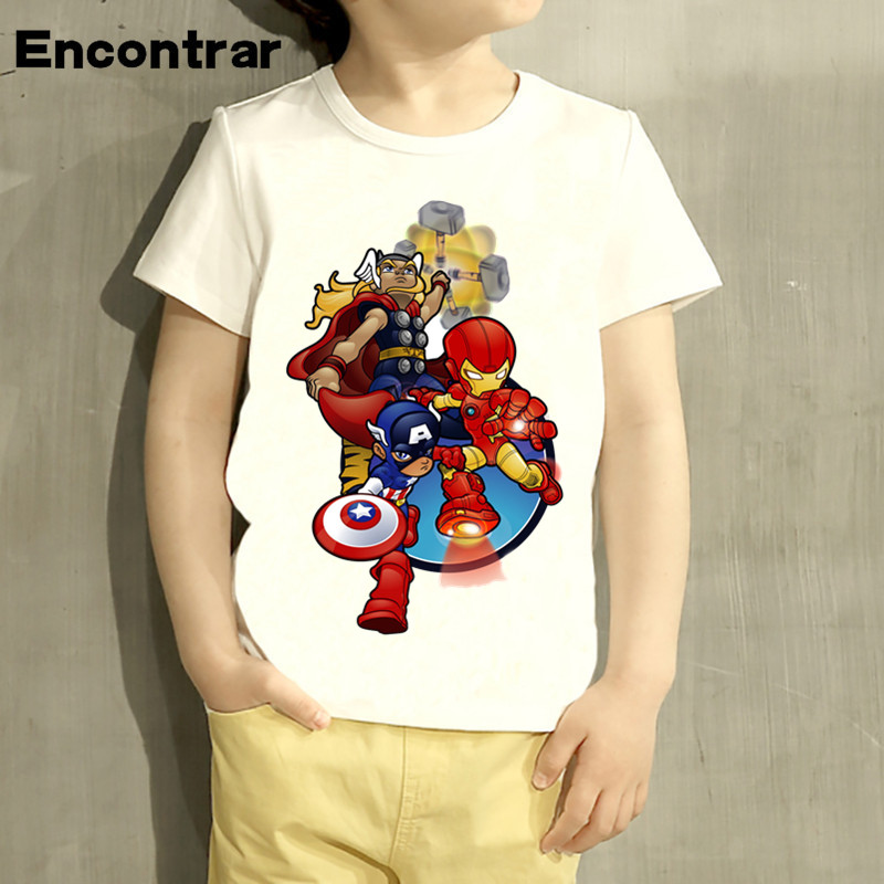 Kids The Avengers Super Hero Cartoon Design T Shirt Boys/Girls Short Sleeve Tops Children Cute T-Shirt,HKP3030 boys and girls teen titans go cartoon printed t shirt children great casual short sleeve tops kids cute t shirt