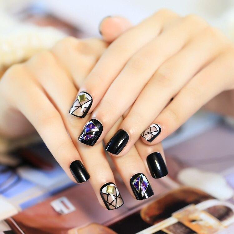 Top Fashion Fake Nails 24 pcs Rivets Short Square Broken Glass ...