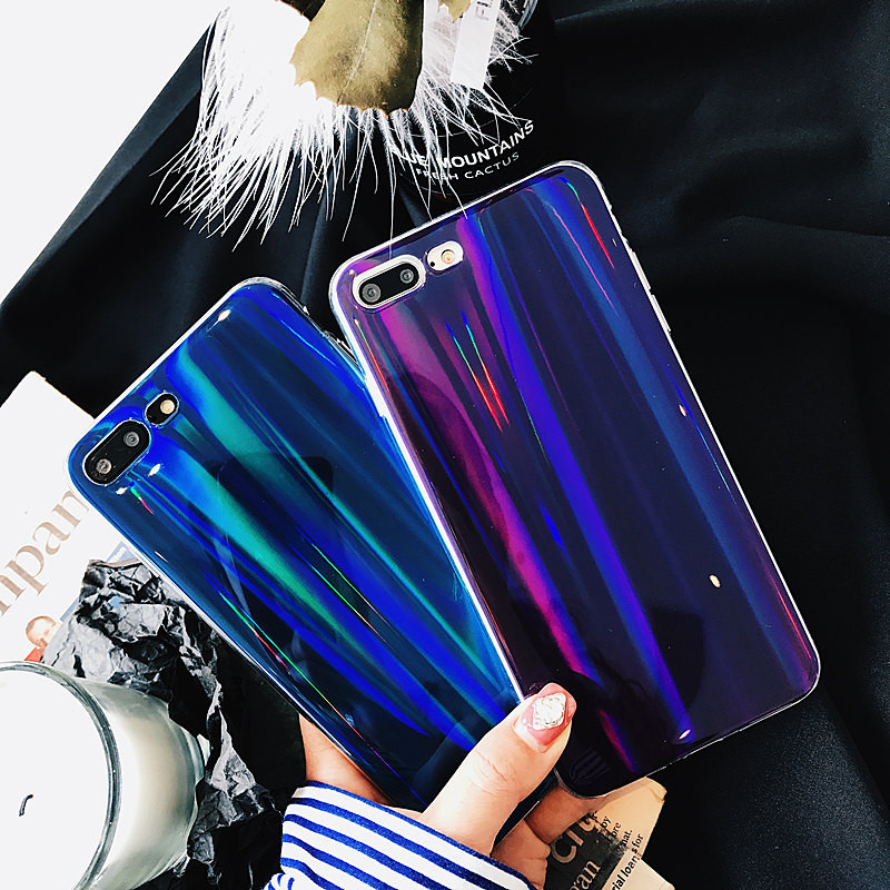 Vintage Phone Case for iPhone X Case for iPhone 6 6S 7 8 Plus Back Cover Fashion Laser Capa Colorful Gradient <font><b>Blu-ray</b></font> Cases