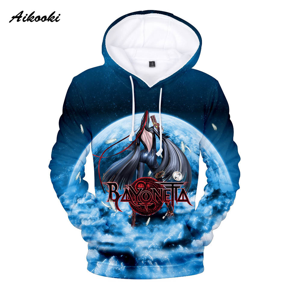 Aikooki Bayonetta 3D Sweatshirts Hoodies Men/Women 3D Print Game Autumn Winter Thin Cotton Hooded Hoody With Cat Fashion 3d Tops