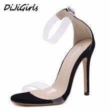 Transparencias dijigirls nuevas mujeres sandalias de tacón alto zapatos de mujer de la manera correa de hebilla star señoras stiletto calza el tamaño 35-40