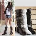 O envio gratuito de botas de Neve único botas femininas primavera e no outono calcanhar plana flatbottomed high-leg botas branco preto marrom