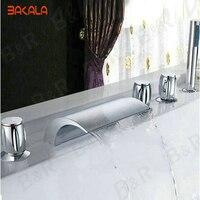 Waterfall Bathtub Faucet Bathroom Bath Tub Mixer Taps With Hand Showerhead 5 Pieces Set 2270g LT