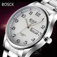 Reloj de marca de lujo superior para hombre reloj de pulsera de acero inoxidable de fecha de día reloj luminoso para hombre reloj de cuarzo Casual reloj de pulsera deportivo 2017